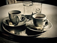 Café de Flore (Professor Bop) Tags: professorbop drjazz olympusem1 cafedeflore paris france cafe outdoorcafe restaurant leftbank rivegauche coffee coffeecups saucers delf sepia monochrome monochromatic plate silverware spoons tray outdoor stilllife water glasses drinks beverages ice icewater french