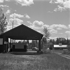 decommissioned Flathead border crossing (andy curtis) Tags: film 120mm 120 6x6 ilfordfp4 fp4 yashicamat vintagecamera twinlensreflex tlr rodinal bordercrossing blackandwhite bw monochrome mediumformat