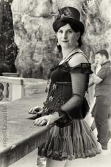 Steampunk lady (blackietv) Tags: steampunk black lace dolly corset hat crossdresser tgirl transvestite crossdressing transgender outside outdoor blackwhite grayscale