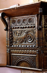 Elkstone, Gloucestershire, Church of St John the Evangelist, pulpit, detail (groenling) Tags: elkstone gloucestershire glos england britain greatbritain uk churchofstjohntheevangelist pulpit wood carving woodcarving grotesque
