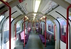 Inside1992TS-SomeArmrests (citytransportinfo) Tags: 1992ts 1992tubestock train railway centralline london underground inside