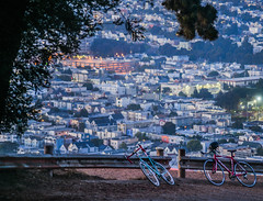 off the beaten path (pbo31) Tags: bayarea california nikon d810 august summer 2018 boury pbo31 color bikes path depthoffield mission pair sanfrancisco city urban bernalheights over view bluehour rooftops