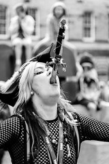 Look, no hands! (andygallacher3) Tags: edinburgh edinburghfringefestival sword knife dagger blade costume audience danger dangerousacts scotland nikon d610 fx ff fullframe nikkorlens bnw blackwhite blackandwhite mono monotone monochrome