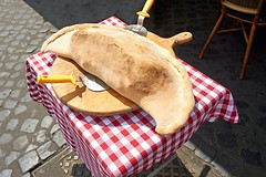 Pizza in Rome (Yirka51) Tags: cuttingboard spoon tablecloth pizza taste table street roma plate pavement meal marketplace market kiosk italy hungry food cooking cake baking appetite