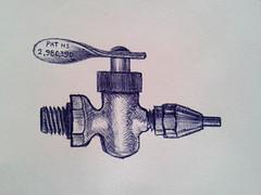 thingy (Mattijsje) Tags: tap kraan kraantje tekening drawing balpen pen ballpoint art gaskraantje gas pat iron ijzer arcering lines line copper koper