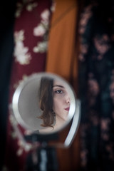 (nancy_rass) Tags: woman girl mirror reflection stare eyes vintage pretty beuty boudoir closet room look peek old model era 1700 georgian british style fashion patterns floral romantic austem shelley colonies colonial titanic edwardian victorian 1900 18thcentury 20thcentury