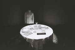 First Class Dining (goodfella2459) Tags: nikonf4 ilforddelta3200 35mm blackandwhite film titanic history whitestarline firstclassdining sydney exhibitioncentre byronkennedyhall bwfp