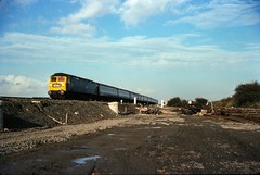 Class 47/4 no. 47457 @ Heaton, Newcastle, 21/10/1976 [slide 7644] (graeme9022) Tags: british rail railways br blue plain standard corporate livery intercity inter city uk train 47 brush type 4 sulzer engine coco diesel electric locomotive express passenger transport transportation ecml east coast mainline main line north england northern eastern region vice