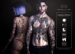 *Queen oF Ink - Legend Tattoo @DUBAI (MonaSax95 | Queen oF Ink) Tags: new news tattoo tattoos tatt blackwhite black colors color event exclusive product products pic shot vendor photo picture sl secondlife creative fashion style moda cool glamour avatar male unisex man men female woman women