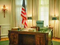 oval_office (gerhil) Tags: travel travelphotography museum library interior office desk windows lamps flag chair historic artifacts president presidential lbj lyndonbainesjohnson curtain