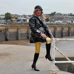 Harbour (emmalouise tgirl) Tags: emma emmalouise tranny tgirl blonde boots leggins shiny heels pvc