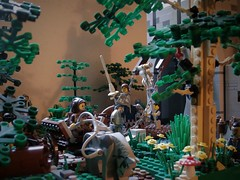 King's Road (jgg3210) Tags: lego castle classiccastle knights kingdomofwillowstone stillmoss peasants bandits forest river fortress kings road pathways landscaping trees moc minifigures animals