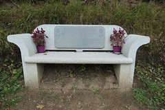 When I am an old woman I will wear purple - bench in memory of a woman (Monceau) Tags: wheniamanoldwomaniwillwearpurple warning bench flowers memorial sitdown odc