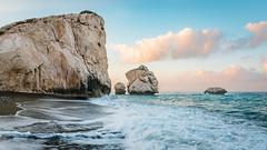 Aphrodite's rock at sunrise (sea view) (lajosmarkus) Tags: aphrodites rock aphrodite cyprus sunrise