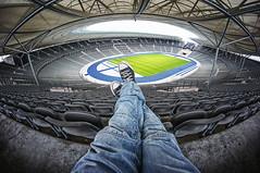[alone] ([sczepurek_photography]) Tags: alone olympiastadion berlin berlinerolympiastadion olympiastadionberlin stadium football fussball herthabscberlin sport architektur architecture feets feet legs beine weitwinkel fisheye