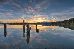 Staring at the sun (ELX_Images) Tags: landscape elxphotography peaceful nature water mood outdoor reflections recreation holiday clouds trees snow newzealand serenity lagoon okarito sea hiking sunrise sky pillar relax colors light mountain