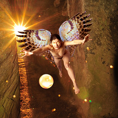 Dream #28 - Summer Solstice Sunrise at Bryn Celli Ddu (xyzquantumpoet) Tags: dream fantasy angel druid orb solstice tomb sunrise magic pagan goddess