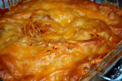 Baked Spaghetti Supper. (dccradio) Tags: lumberton nc northcarolina robesoncounty indoor indoors inside food eat meal supper dinner lunch casserole casseroledish spaghetti bakedspaghetti meltedcheese baked glasscontainer glasscasseroledish