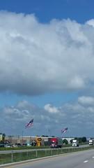 American Flags - Springfield, Missouri (Adventurer Dustin Holmes) Tags: greenecounty missouri springfieldmo springfieldmissouri i44 westbound interstate44 unitedstatesofamerica usa 2018 straffordmo straffordmissouri lewsfishing sky clouds