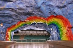 Stadion (Douguerreotype) Tags: sverige underground urban rainbow art sweden stockholm tbana city architecture tube subway metro tunnelbana tunnel station