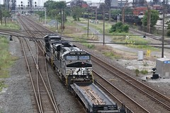 NS power leads string of empty coil cars onto IHB (kschmidt626) Tags: train steel mill indiana chicago gary switching sw1500 amtrak hammond