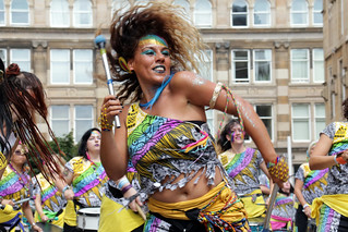 Liverpool's drumming and movement group Katumba performing at Glasgow's Merchant City Festival
