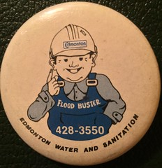 EDMONTON WATER AND SANITATION FLOOD BUSTER --- PIN BACK BUTTON (woody1778a) Tags: edmonton edmontonhistory alberta canada pinback button history mycollection myhobby