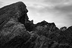 Surrounding caves (ShinyPhotoScotland) Tags: art photography equipment camera lens landscape vista emotion nature rawconversion manipulated composite hdr enfuse digikam toned tranquil rawtherapee raw serifaffinityphoto pure rockstone geology sandstone conglomerate cave monochrome blackandwhite fuji fujixt20 coastal fuji18135mm