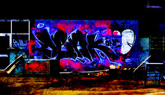 Neon Signs (Steve Taylor (Photography)) Tags: onthestlikeahooker one dlak graffiti streetart tag contrast blue black red pink purple brown newzealand nz southisland canterbury christchurch cbd city texture dark lowkey