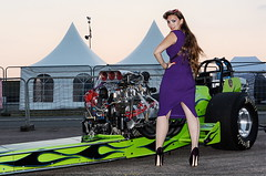 Holly_1827 (Fast an' Bulbous) Tags: classic slingshot dragster fast speed power supercharged pinup girl woman hot sexy long brunette hair wiggle dress high heels stilettos stockings nylons model