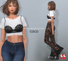 COCO New Release @ Fameshed (cocoro Lemon) Tags: coco newrelease fameshed secondlife fashion mesh bra tshirt lace flare pants maitreya slink belleza