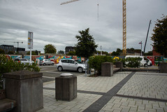 "Towering Over Us (Jocey K) Tags: newzealand nikond750 christchurch cbd building trees crane street cars signs streetart mural cathedralsquare sky ""ōtautahi an origin story mural"""