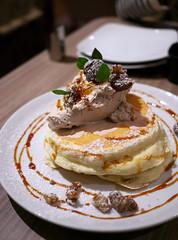 Mont Blanc Pancake (Long Sleeper) Tags: sweets dessert food cafe takakuramachicoffee 高倉町珈琲 pancake pancakes montblancpancake chestnut maroon honey whippedcream hachioji tokyo japan dmcgx1