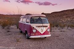 Red white VW van, Bus Jack's Air BNB, Terlingua Ranch, West Texas