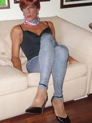 Karen (Karen Maris) Tags: tg tgirl tgurl karen transvestite transsexual transgender tranny trannie legs pantyhose leggings tights heels redhead crossdress crossdresser