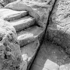 Step Through Time (agavephoto) Tags: square bw highkey stone steps carved worn weathered elmorronationalmonument elmorro old newmexico historical blackandwhite fineart simple time windy rocks rock white texture cracks cracked shadow bright sunlight sunlit hike broken fractured split