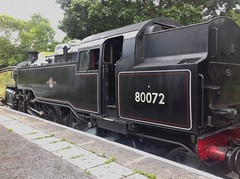 Glyndyfrdwy 110818_134032 (Leslie Platt) Tags: exposureadjusted straightened denbighshire llangollenrailway glyndyfrdwy passingloop 264tclass4mt 80072