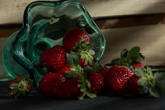 Sreawberries (wesp2011) Tags: strawberries glass shadows lights wood