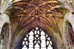 Net vaults (orientalizing) Tags: 15thcentury 1146ad abandoned archaia architecture cistercians gothic melroseabbey ribvaults ribbing ruins scotland