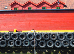 Harbor Detail (Grazerin/Dorli Burge) Tags: building wall window tire color red yellow black flam norway harbor abstract elements fjord shapes