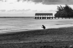 Hanalei Sunset 3 (lycheng99) Tags: hanalei hanaleibay pier hanaleipier sunset beach woman photography sky clouds tree alone landscape nature water ocean longexposure blackandwhite monochrome hawaii kauai