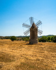 small windmill (Danyel B. Photography) Tags: small windmill windmühle old antique alt building gebäude mallorca spain spanien landscape sky field clouds blue trees bäume landschaft