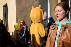 Saint-Petersburg, Russia (f.d. walker) Tags: easterneurope europe russia saintpetersburg stpetersburg girls girl look balloon balloons yellow orange costume streetphotography street sunlight surreal candidphotography candid color colorphotography city colors contrast