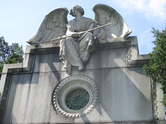 IMG_7502 (Brechtbug) Tags: roof sitting angel clutching sword above mausoleum entrance granite greenwood cemetery statue wings graveyard tomb horn tombstone crypt mausoleums angels swords seated green wood brooklyn new york city 2018 nyc located corner border ave sassafras 08122018