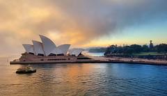 Sydney Opera House (missgeok) Tags: sydneyoperahouse circularquay ferry sunrise morning sydneysunrise sky warm weather winter relfections australia sydneyharbour beautiful foggy daytime famousicon sydney architecture amazingsky skycapture