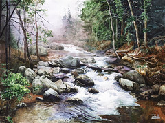 Forest river (mihail.zapasnyh) Tags: russia watercolor romantic realism river landscape