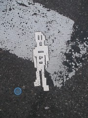 White Robot Tile Stikman on Crosswalk 7783 (Brechtbug) Tags: a return stikensian times white robot tile stikman crosswalk nyc street art graffiti tag tagging stencil cut out toynbee stickman asphalt figurative school flat action figures new york city 08152018 cross walk smoke 2018 stik man men curious streets summer heat august broadway fifty first