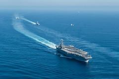 Ships in Carrier Strike Group 3 (sjrankin) Tags: ussjohncstennis cvn74 pacificocean usa 16august2018 edited usn unitedstatesnavy 180812nda6930168 csg3