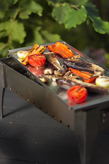 Grilled vegetables are heated on coals of steel barbecue (stok-1707) Tags: appetizer asian background baked barbecue bbq closeup coals cooked cooking cuisine delicious dinner dish easy fire food gourmet green grill grilled grilling healthy heat herb herbs lunch marinade meal mushroom onion paprika pepper recipes red roasted skewer skewers summer tasty tomato vegetable vegetables view