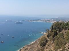 Oceania Sirena in Taormina, Sicily (Craigs Travels) Tags: ancienttheatreoftaormina ancient greektheatre taormina southernitaly ruins sicily cruiseship oceania sirena ship